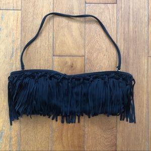 Raisins black fringe bandeau bikini top
